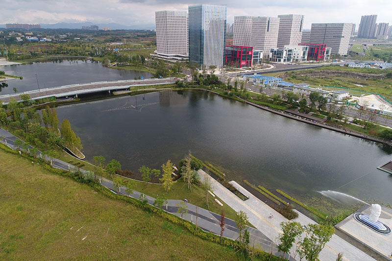 Aerial View of Xinchuan Heartbeat Central Park