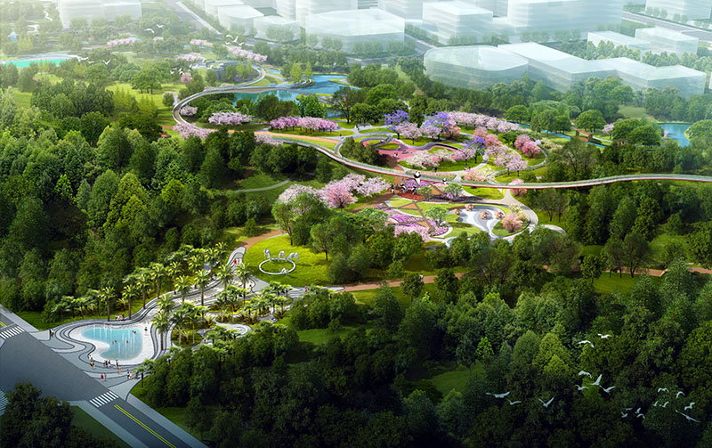 Xinchuan Heartbeat Central Park East Zone North Entrance and Flower Sea Garden